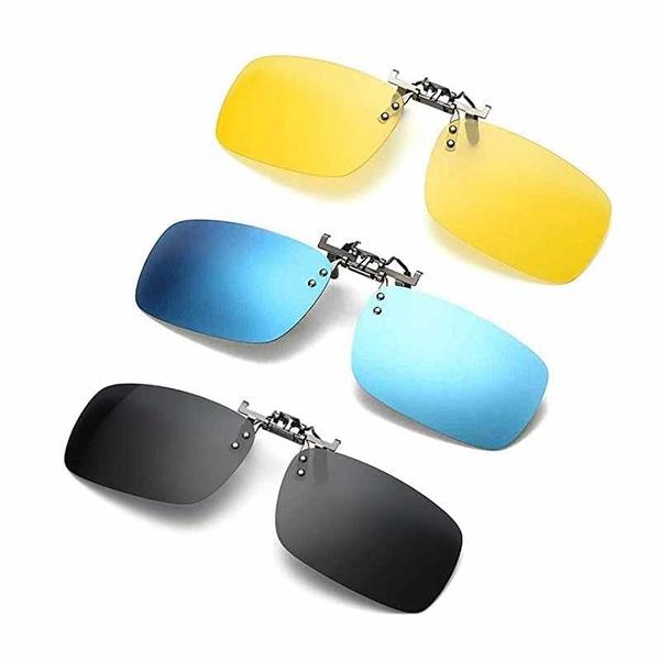 夾式太陽眼鏡鏡片3入 深灰/藍/黃 抗UV400 Clip on Flip up Polarized Lens For Prescription Glasses [9美國直購]