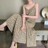 雪紡洋裝碎花吊帶連身裙女2020新款夏季裙子仙女超仙森系法式春秋雪紡長裙 萊俐亞