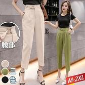 方型雙釦環斜口袋長褲(3色) M~2XL【915261W】【現+預】-流行前線-