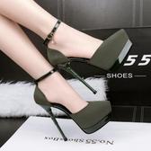 超高跟防水臺性感涼鞋 鏤空一字帶水鑽鞋【多多鞋包店】z6995