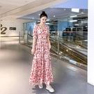 小雛菊雪紡碎花洋裝連衣裙女2021夏裝新款高腰顯瘦 V領仙女氣質長裙子 快速出貨