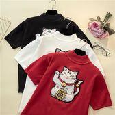【好康618】織衫女冬季新款半袖招財貓咪彈力百搭毛衣