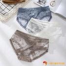 蕾絲內褲3條裝 波點網紗性感透明低腰純棉襠輕薄誘惑三角褲頭【小獅子】