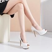 防水臺魚嘴鞋女時裝涼鞋女2020新款白色高跟鞋女 細跟性感恨天高【全館免運】