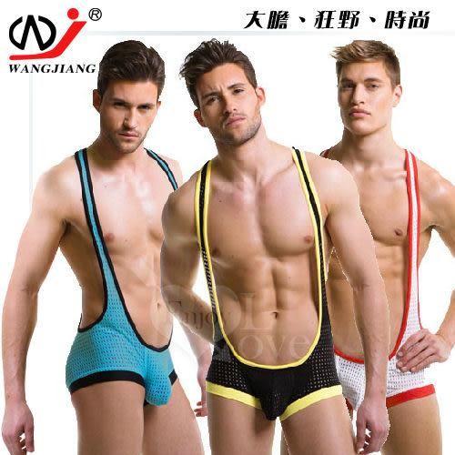 男性感連體衣【網將WJ】男士性感網眼透氣背心平角男性感連體衣﹝白L﹞【享樂精品】