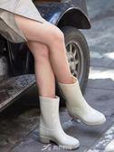 雨鞋女時尚可愛中筒水靴防水防滑水鞋膠鞋休閒套鞋成人戶外雨靴 樂芙美鞋