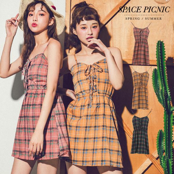 褲裙 Space Picnic|細肩格紋交叉綁繩連身短褲裙(現+預)【C18061028】