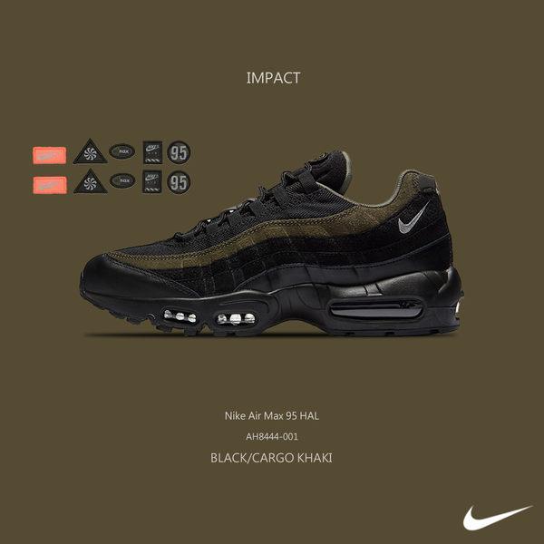 IMPACT Nike Air Max 95 HAL 軍綠 黑 魔鬼氈 可自黏 3M 反光 慢跑 AH8444-001