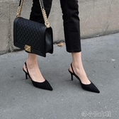 高跟鞋女夏細跟新款性感百搭一字帶包頭涼鞋小ck小跟單 『洛小仙女鞋』