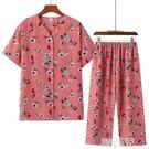 媽媽套裝 奶奶裝夏裝套裝老年人女媽媽短袖開衫睡衣婆婆老人夏天襯衣兩件套 韓菲兒