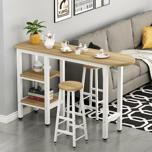 吧檯桌簡約現代客廳隔斷吧台桌帶櫃靠牆高腳桌椅家用酒吧台奶茶店餐桌【快速出貨】
