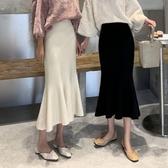 女秋裝2019年新款性感高腰修身針織魚尾包臀裙荷葉邊中長款半身裙