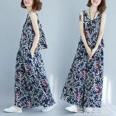 短袖套裝 大碼女裝胖mm新款夏季文藝復古棉麻印花無袖上衣闊腿褲裙兩件套裝 生活主義