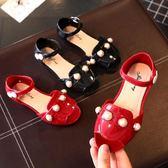 公主鞋 女童高跟涼鞋 果凍鞋按扣軟底塑料防水鞋3-5歲童