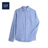 Gap 男裝 清爽格紋翻領長袖襯衫 548296-天藍