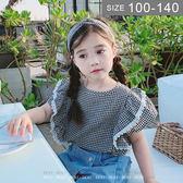 韓版女童襯衫。ROUROU童裝。夏女童中小童格子花邊袖短袖上衣 襯衫 0221-412 附髮帶
