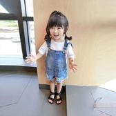 小童牛仔褲軟1-3歲女寶寶破洞牛仔背帶褲兒童熱褲兒童褲子短褲夏