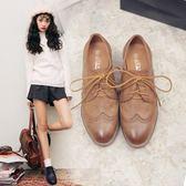 粗跟小皮鞋女英倫復古學院風牛津鞋圓頭木根中跟單鞋女  魔法鞋櫃