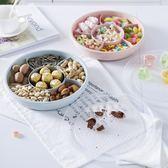 透明蓋六格塑料果盒 糖果盤瓜子零食收納盒帶蓋水果盤兩個,