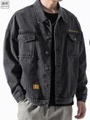 牛仔外套 牛仔夾克男士秋冬潮流寬鬆機能工裝外套加絨潮牌百搭韓版秋裝上衣  CY潮流