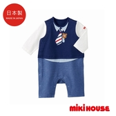 MIKI HOUSE 日本製 普奇熊時尚風長袖連身服