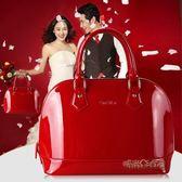 新款韓版簡約結婚女包貝殼包新娘手提包漆皮時尚百搭單肩斜挎