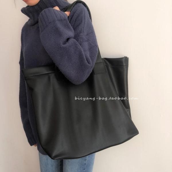 別樣自制新款韓國ins簡約復古軟皮高級感側背大容量托特包女