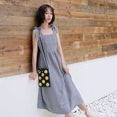 洋裝 吊帶裙女學生女學生韓版2018新款夏仙女裙格子裙子長裙甜美背帶裙 米蘭街頭