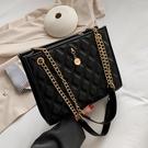 高級感女士包包2021夏季新款潮時尚鏈條斜背包洋氣質感側背托特包 黛尼時尚精品
