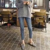女生牛仔褲 高腰牛仔褲 小腳 彈力 黑色 鉛筆長褲子