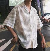 港風條紋男生休閒短袖襯衣夏裝休閒白色襯衫潮流上衣 艾尚旗艦店