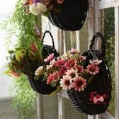 吊掛花 田園柳編壁掛花籃牆上藤編吊籃創意家居牆面裝飾插花假花花盆