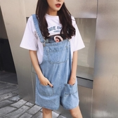 2020夏季新款韓版寬鬆牛仔背帶短褲女學生高腰休閒大口袋連體褲潮