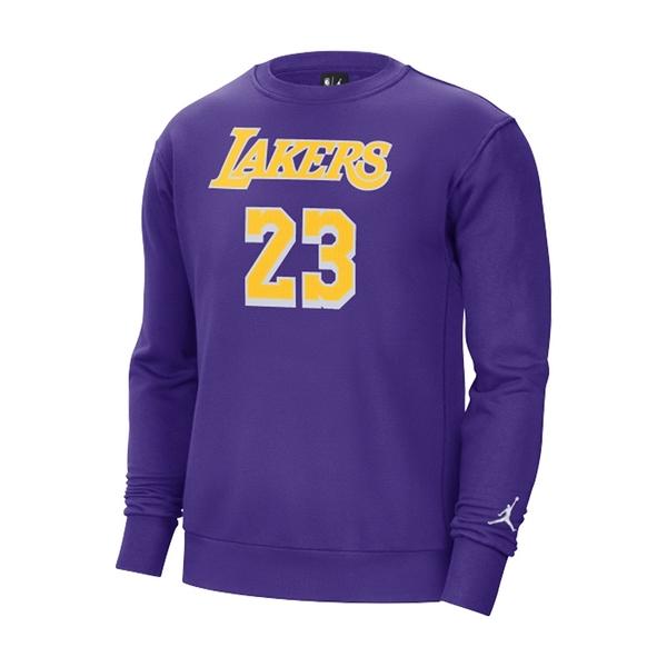 Nike 男 NBA 湖人隊 LEBRON JAMES 紫 刷毛 籃球 長袖 上衣 CN1052-504