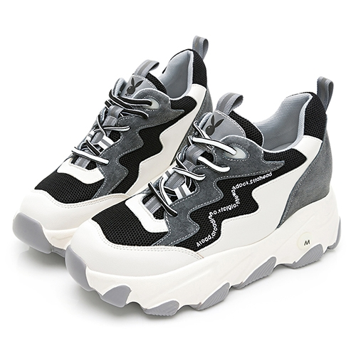 PLAYBOY 美式復古 真皮兔兔老爹鞋-白黑(Y6776)