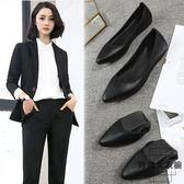 軟底工作鞋女黑色平底鞋大碼職業尖頭單鞋皮鞋舒適【時尚大衣櫥】