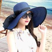 草帽沙灘帽草帽子女夏季海邊度假防紫外線太陽帽可折疊防曬帽 mc6923『東京衣社』