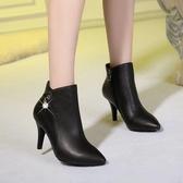 裸靴冬新款女短靴大碼真皮高跟細跟水鉆裸靴牛皮馬丁靴女靴618購