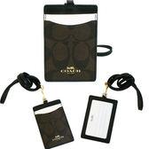 【COACH】經典CC LOGO PVC 防刮皮革證件識別證保護套(深咖)