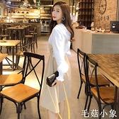 假兩件長袖連帽衛衣裙女春秋季中長款減齡收腰顯瘦氣質休閒連身裙CL385『毛菇小象』