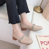 皮鞋 春秋單鞋子仙女中跟小皮鞋新款淺口奶奶鞋百搭粗跟溫柔豆豆鞋 曼慕衣櫃
