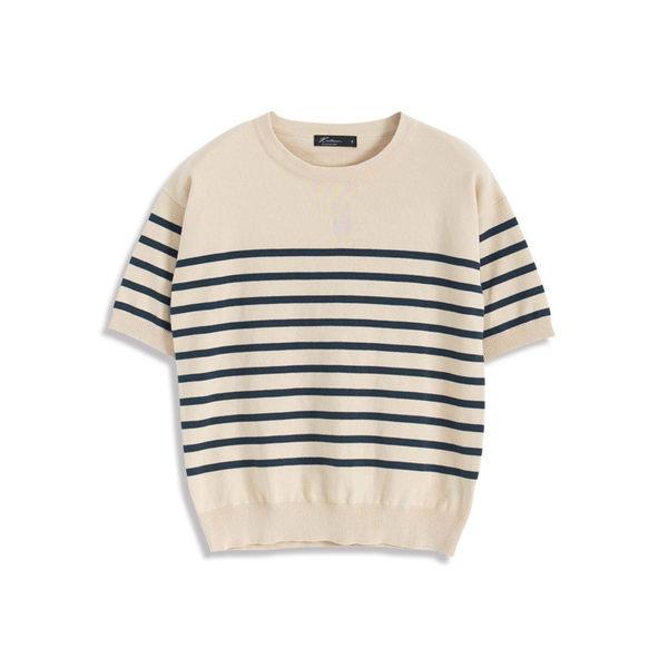 Queen Shop【01012312】條紋針織五分袖上衣 兩色售*現+預*