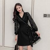 超殺29折 韓系亮片紗袖v領復古修身顯瘦禮服長袖洋裝