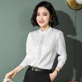 白色襯衫長袖2019年新款女裝初秋裝洋氣上衣職業襯衣設計感小眾潮 嬌糖小屋