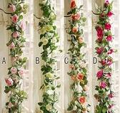 仿真玫瑰花藤條裝飾吊花纏繞假花藤蔓室內塑料花空調管道遮擋植物 快速出貨