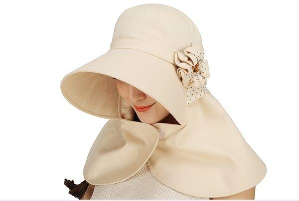 夏天戶外遮臉騎車防曬帽遮陽帽可折疊防紫外線帽大簷太陽帽  -charle0015