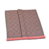 GUCCI LOGO純羊毛寬版圍巾披巾(粉色)