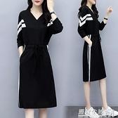 春秋適合胖人的裙子女夏裝大碼胖mm中長款寬鬆遮肚衛衣洋裝顯瘦