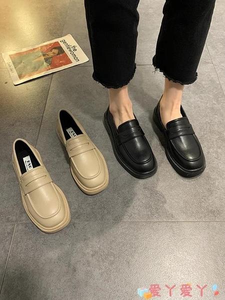 小皮鞋 小皮鞋女英倫風2021年春秋季新款時尚厚底方頭粗跟單鞋百搭工作鞋 愛丫 免運