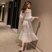 洋裝 韓版網紅七分袖法式一字領露肩連身長裙 花漾小姐【預購】